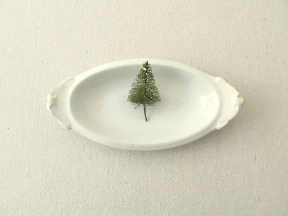Antique White Oval Ironstone Relish Dish