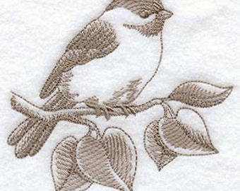 Chickadee Toile Embroidered Terry Kitchen Towel Bathroom Hand Towel