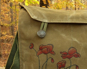 Poppies - Hand painted on a Vintage Czech Canvas Military Messenger Bag Purse.
