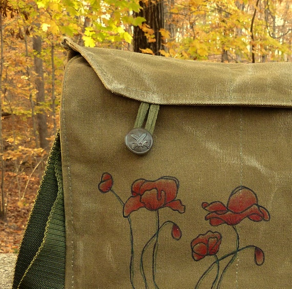 Poppies - Hand painted on a Vintage Czech Military Messenger bag.