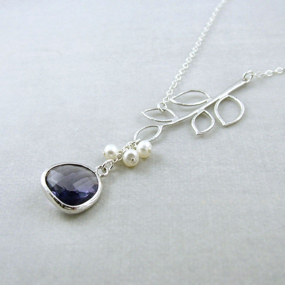 Leafy Branch Necklace - 'Florence Tanzanite'  Glass Drop, Freshwater Pearls, Sterling Silver Chain, Wedding, Purple Necklace