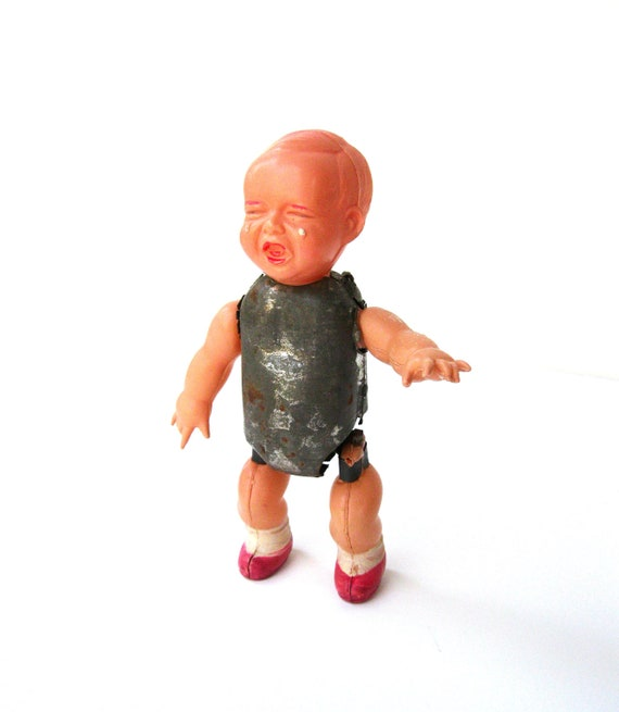 Strange Very Vintage Celluloid and Tin Windup Doll