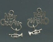 Pewter New Orleans Charm with Dangling Trumpet (set of 2)