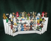 Handcrafted Wooden Star Wars Legos Minifigure Tabletop Display Shelf, Gloss White with black  legos plates