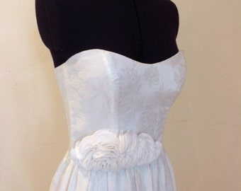 Peony Gown - Ivory Damask strapless, Wedding Gown with Ruffles, floor length.