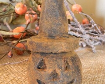Primitive Blackened Beeswax Jack o' Lantern Witch  #307