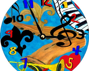 "Funcky Jazz colorful large Wall Clock 11"" round from art"