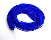 Matte cobalt seed beads hank, 12 strands bright blue Czech Maco Tubes 20/0