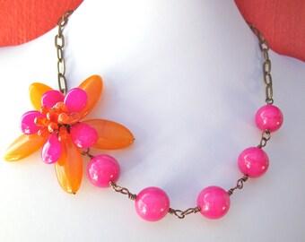 Orange pink gem flower necklace, pink gemstone flower jewelry, asymmetrical necklace with fuchsia and orange agate