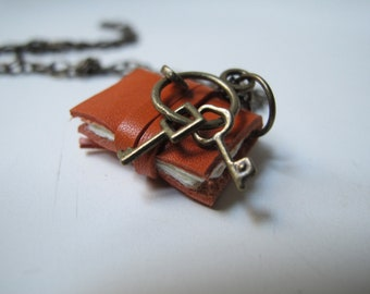 Mini book necklace, with keys for your heart