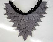Black Felt Trim, Smoked, Grey Felt Leaves, Unusual Neck Warmer, Collar, Autumn, Fall Fashion