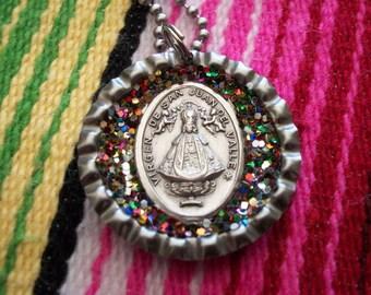 virgin of san juan upcycled bottle cap necklace