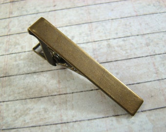 With Gift Box! One Antiqued Brass Tie Clip Ready to Wear Tie Bar Tie Clips Wedding Groomsmen Father's Day