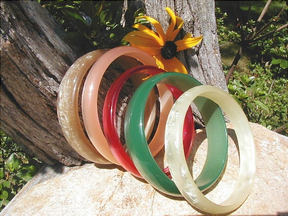 Five Vintage Moonglow Lucite Bangle Bracelets in Fall Colors