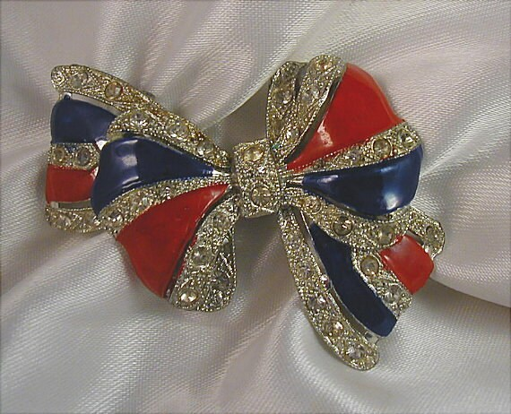 Vintage Patriotic Red Blue Crystal Pot Metal Bow Brooch