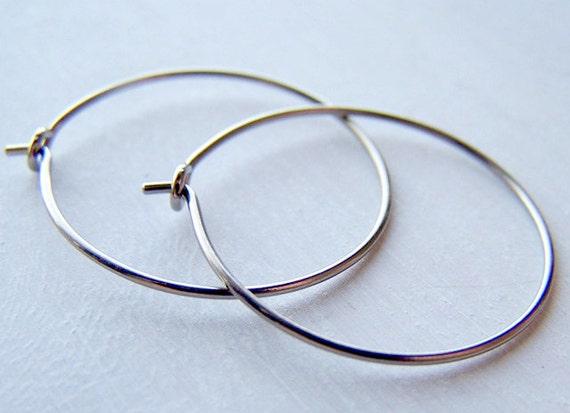 hypoallergenic pure titanium hoop earrings for sensitive ears handmade by Variya