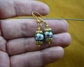 Dark Green with pink flower 10 mm round Cloisonne bead filigree cap dangle earring pair EE-612-52