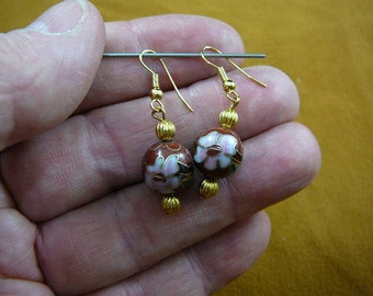 Rust brown with pink flower 12 mm Cloisonne bead gold dangle earring pair EE-613-20