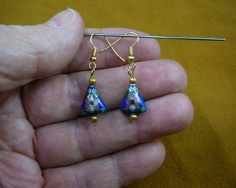 Dark Blue with pink white flower 11x13 mm triangle Cloisonne one bead gold dangle earring pair EE-615-10