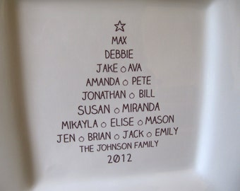 Christmas Tree Personalized Family Platter