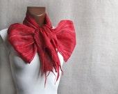 Felted wool scarf SCARLET thin cobweb women men scarves