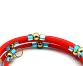 Wrap Bracelet Bangle Fluorescent Day glo Orange, baby blue and Gold