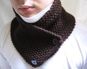 Knitted scarf  knit neckwarmer cowl chunky for man women unisex dark brown