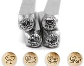 Metal Design Stamps By Impressart 6mm Stick Farm Animals 4 Pcs