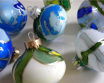 Glass Christmas Ornament - Hand Painted Holiday Decoration