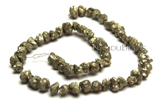 Golden Iron Pyrite Natural chunky nugget beads 8-14 mm 15 inch (Fools Gold)