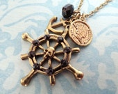 Pirates. Ship Steering Wheel, Anchor and Coin. Nautical Charm Necklace.