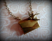 Envelope Locket Necklace with Swallow Charm. Mini Letter Necklace.