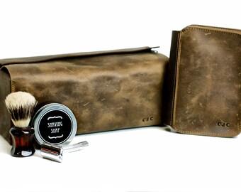 Men's Gift Set - Leather Toiletry Bag and Shaving Kit - Dopp Kit Travel Case - 3rd Wedding Anniversary Husband Gift