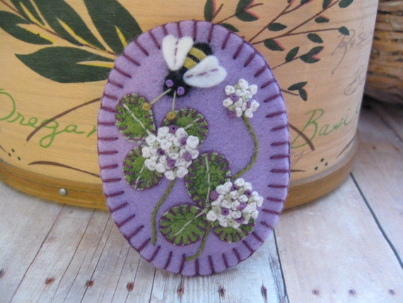 All in Clover Brooch in Lavender