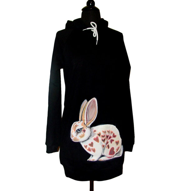 RESERVED for Emily - Tricolor Heart Rabbit hoodie dress - animated - handpainted by NYhop - one of a kind, size Medium (USA size 0-8)
