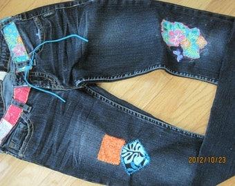 Custom made embellished  patchwork jeans