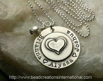 Double Stacked Hearts with Three Names Hand Stamped Necklace
