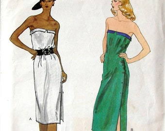 "Vintage Vogue Pattern 7370 - Misses Strapless Dress - Hard to Find/Rare Pattern - UNCUT - Size 12, Bust 34"""