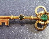 Vintage Key Pin with Blue Rhinestones Gold Filled