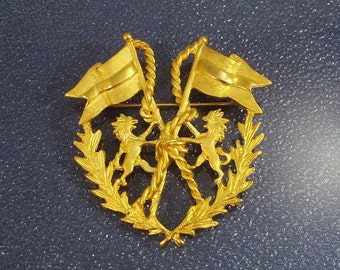 Large Heraldic Goldtone Brooch with Griffons