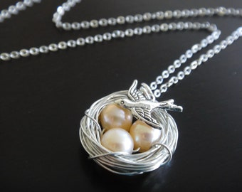 Light Peach Freshwater Pearl Bird Nest Personalized Wire Wrapped Bird Sparrow Necklace