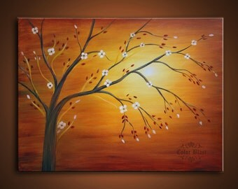 Original Oil Painting - Contemporary Abstract Landscape Modern Fine Art  Painting. SUN TREE.