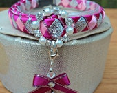 Luxury Cat Collar Breakaway in Pinks and Silver with Diamante Buckle