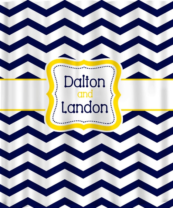 Personalized Shower Curtain -Navy & white with any color accent