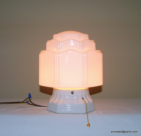 Antique Ceiling Lighting Vintage Art Deco Porcelain Pull Chain