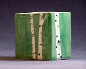 Hand Painted Aspen Tree Pencil Box Green