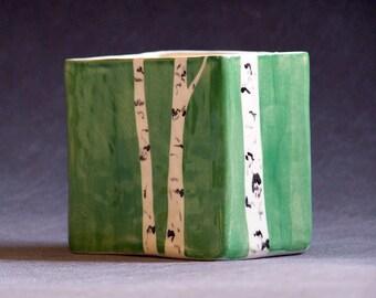 Hand Painted Aspen Tree Pencil Box Green