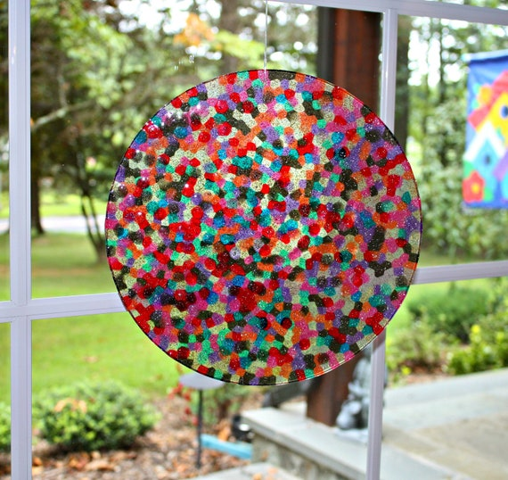 Extra Large Suncatcher Unique Mosaic - Rainbow and Chocolate Sprinkles Hand Crafted HUGE 11 inch Disk all ready for display by Mei Faith