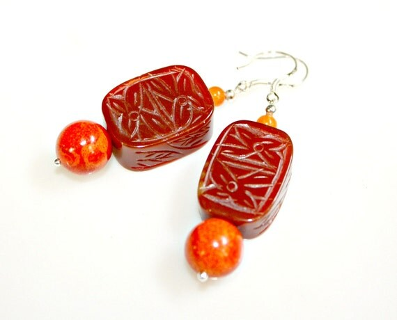 Red Asian Earrings - Gorgeous Unique Agate Hand Carved Waterlily Flower with Leaf Design and Sterling Silver by Mei Faith