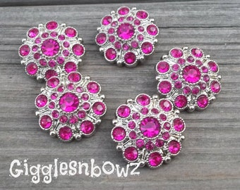 NEW Set of FiVE LIMITED EDITION Shocking Pink Acrylic Rhinestone Buttons 27mm